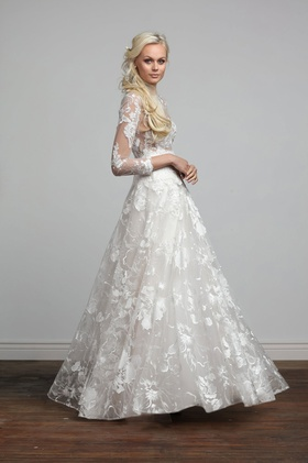Joy Collection Barbara Kavchok Camille wedding dress lace a line long sleeve gown