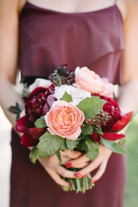 fall bridesmaid bouquet inspiration, white flowers peach garden roses, burgundy peonies