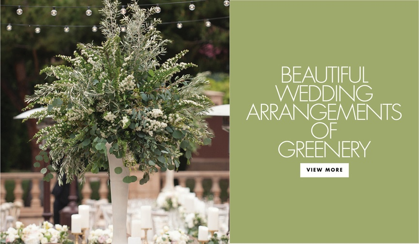 all green foliage floral arrangements centerpieces weddings rustic boho nautral elements