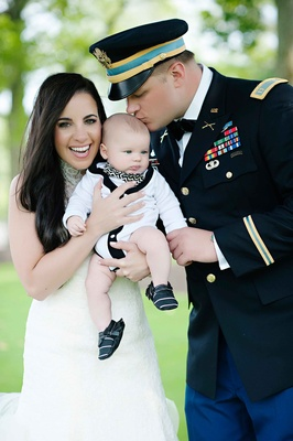 Olga Duarte and Robert Heidt with baby boy at wedding