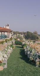 Cliffside décor at Lauren Kitt and Nick Carter's outdoor wedding