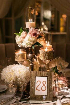 Low centerpiece peony flowers, roses, gold birch bark, blush white sahara rose decorations