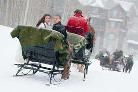 Horse-drawn sleigh ride with bride and groom
