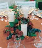 Autumn tablescape with candles and flowers
