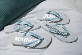 Wedding gift and favor ideas white flip flops Betsey Johnson white flip flops just married light blu