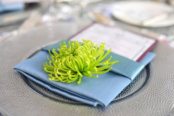 Green spider mum on top of blue napkin