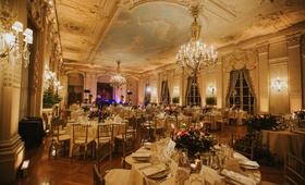 wedding reception at rosecliff mansion newport rhode island grand venue chandelier painted ceilings