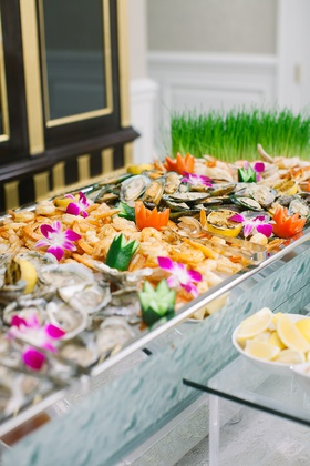 wedding reception colorful appetizer seafood shrimp station
