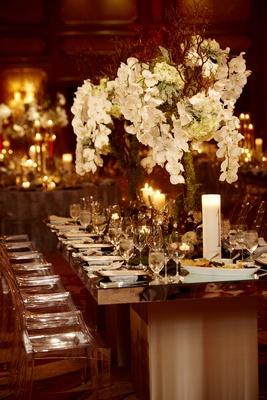 Ballroom wedding moss and orchid natural centerpiece