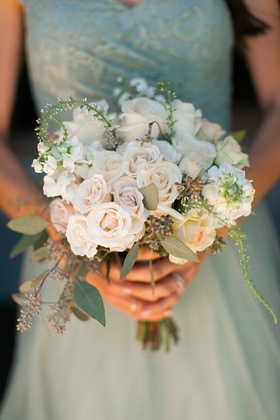 bridesmaids bouquet with cream roses and eucalyptus