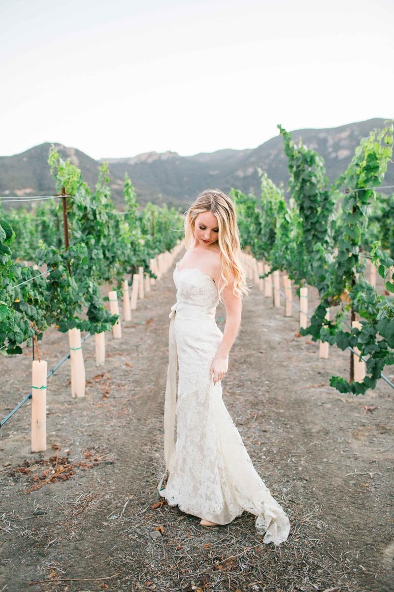 beautiful bride white jim hjelm dress alfresco outside wedding california vineyard vines lace