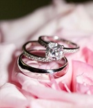 Bride and groom's wedding rings on top of pink rose petals