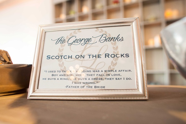 "Signature cocktail menu Scotch on the Rocks called ""The George Banks"" after ""Father of the Bride"""
