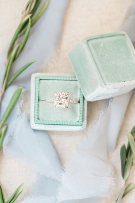 Engagement ring in light mint green The Mrs. Box pave band rose gold cushion cut diamond ring
