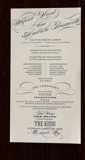 Simplified ceremony booklet letterpress card
