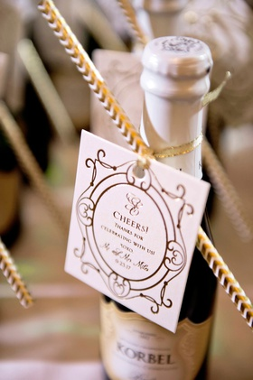 wedding favor miniature bottle of korbel champagne with tag and straw cheers thanks for celebrating