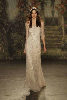 """column """"mina"""" dress in champagne with beaded overlay by jenny packham"""