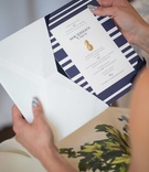 blue and white invitation, southern charm wedding pineapple details