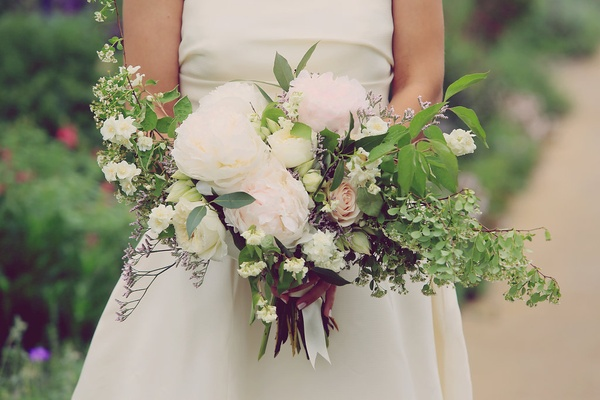 bouquet with white peonies, blushing bride, patience garden rose, sweet pea, white spirea
