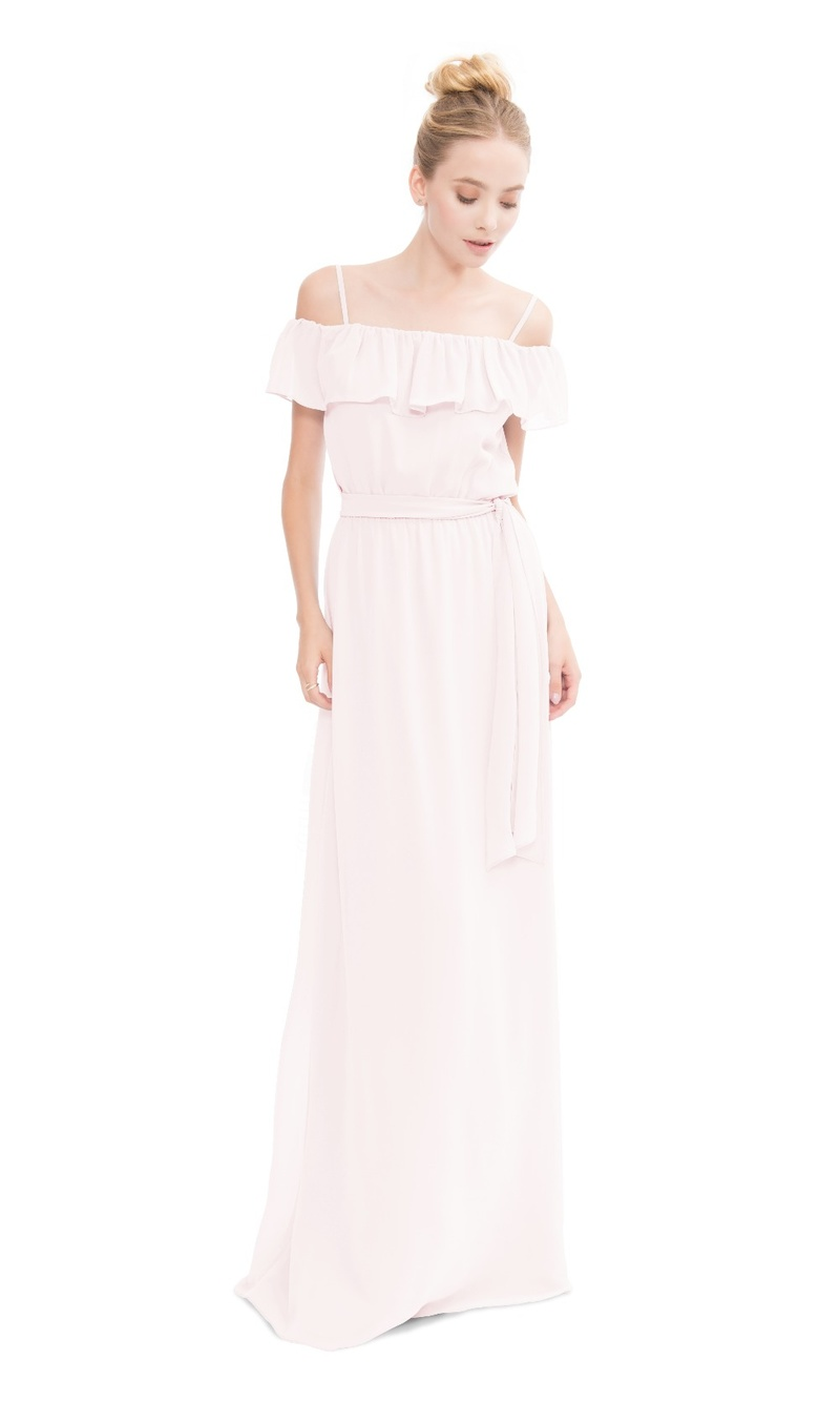Single ruffle off the shoulder gown with added spaghetti straps and optional tie at waist.