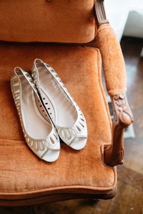 emmy london peep toe silver and white flats bridal