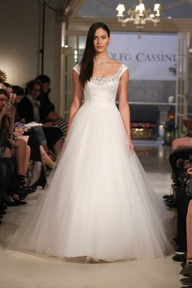 Oleg Cassini at David's Bridal tulle ball gown wedding dress with off the shoulder cap sleeves