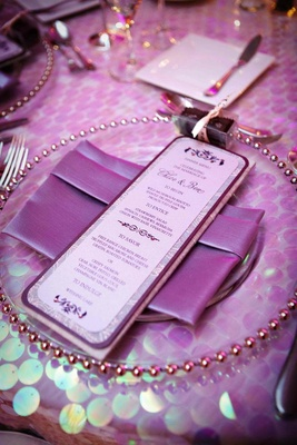 Wedding menu card with purple details and rhinestones