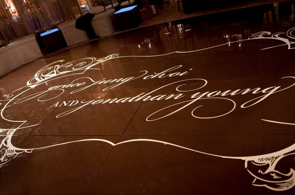 dance floor personalized with couple's names