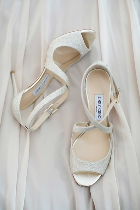jimmy choo wedding heels peep toe with strappy heels straps white silver ivory