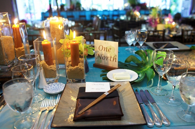 Place setting with chopsticks and candles