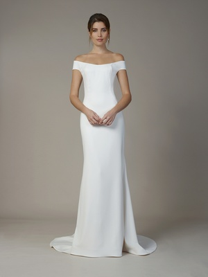 Liancarlo Fall 2018 Matte crepe off-the-shoulder sheath gown with illusion neckline