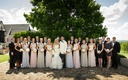 Bride and groom with eight bridesmaids and nine groomsmen