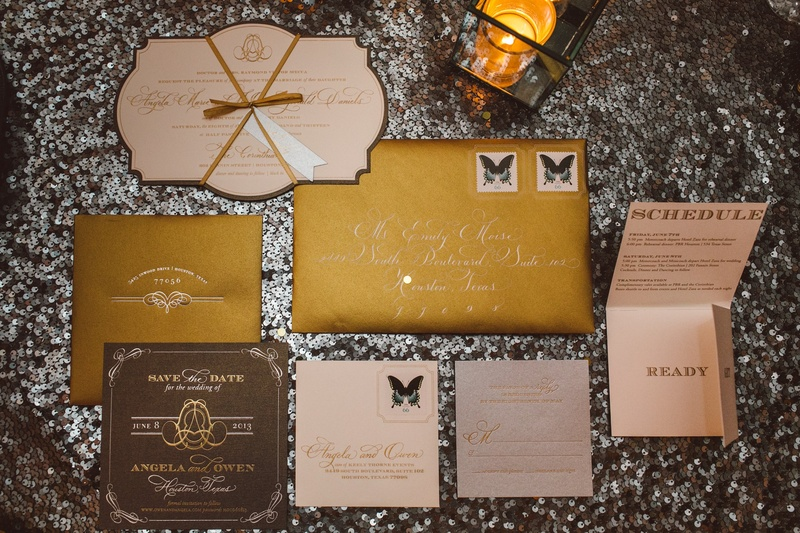 Gold save-the-date and response cards