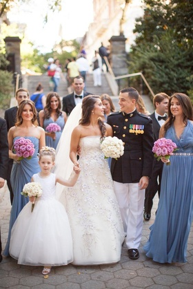 U.S. Marines groom with bridesmaids and flower girl