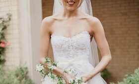 unique bridal bouquet, cascading garland of white flowers