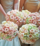 Nosegays featuring pastel flowers
