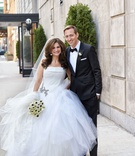 Chicago wedding bride in vera wang strapless dress layer tulle skirt groom in tuxedo bow tie anemone