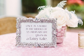 Crystal frame with once in awhile in the middle of an ordinary life love gives us a fairy tale sign