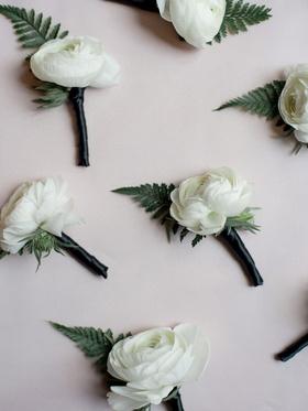 wedding accessories groom groomsmen ranunculus white flower green leaf fern boutonniere