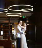 couple embracing during rehearsal dinner love dominican republic wedding marriage formal inspiration