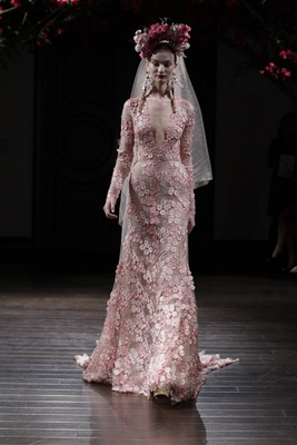 Long sleeve pink wedding dress with v neck and flower appliques