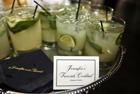 wedding signature cocktail jalapeño mojito served on a tray