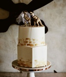 wedding reception hexagon bottom layer round top layer gold dinosaur bride and groom cake topper