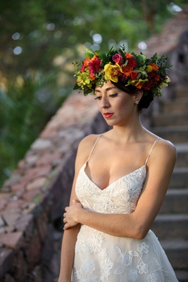 bride model colorful flower crown mexico Otomi culture punta mita wedding styled shoot frida kahlo