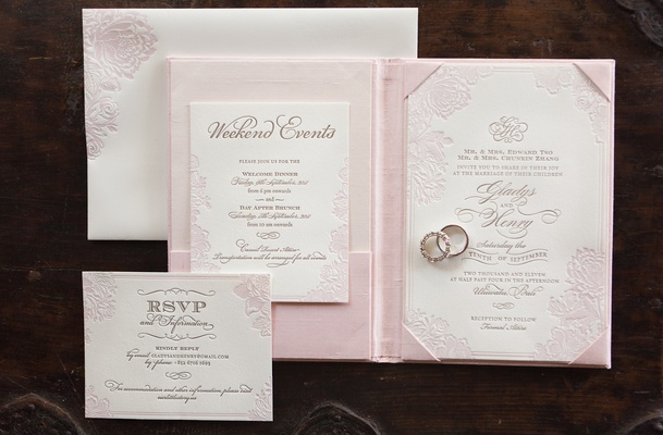 Wedding invite with letterpress details and pink flower design