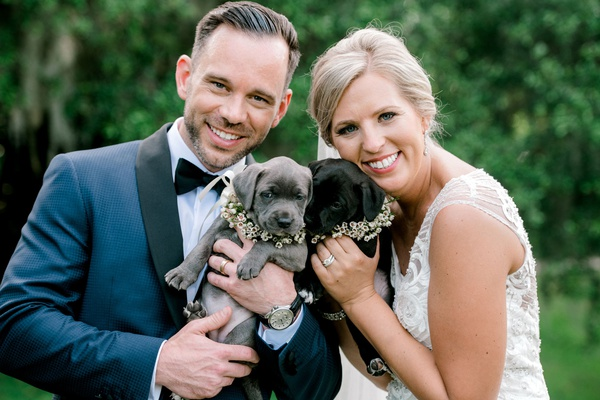 groom in navy blue tuxedo jacket bride and beaded wedding dress with cute puppies dogs with flowers