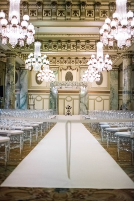 wedding at the crystal room in the willard intercontinental in washington dc, chandeliers over aisle