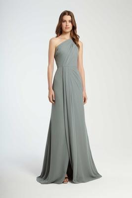 0f398a0e345 Monique Lhuillier Bridesmaids Fall 2016 one shoulder blue green bridesmaid  dress