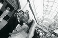 Black and white photo of bride and groom in San Francisco's Ferry Building