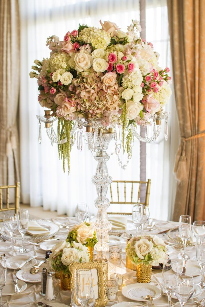 Reception décor photos crystal candelabrum floral
